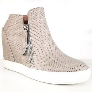 New Taupe Zipper Hidden Wedge High Top Sneakers